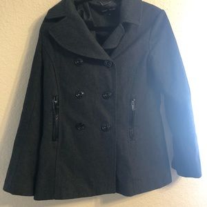 Dark Gray Black Rivet Pea Coat